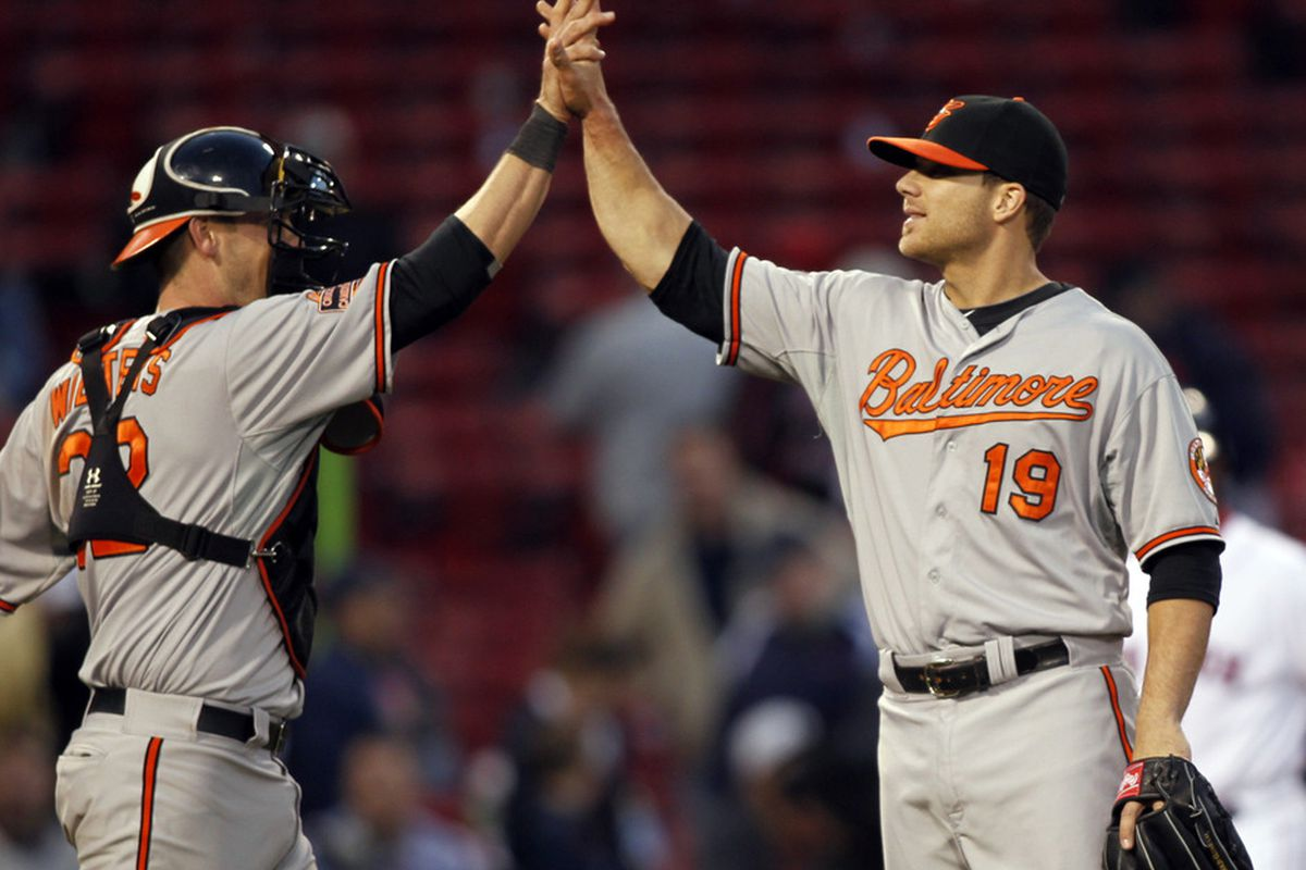 A very special postgame Pitcher-Catcher high-five