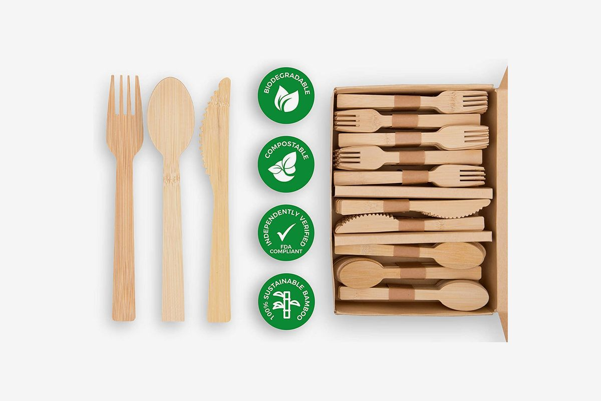 A box of bamboo utensils