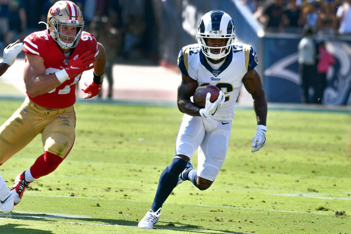 Los Angeles Rams wide receiver Brandin Cooks against San Francisco 49ers defensive end Nick Bosa during the first half at Los Angeles Memorial Coliseum.