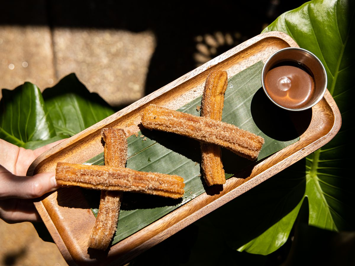 Churros with chocolate/coffee sauce from Casta's