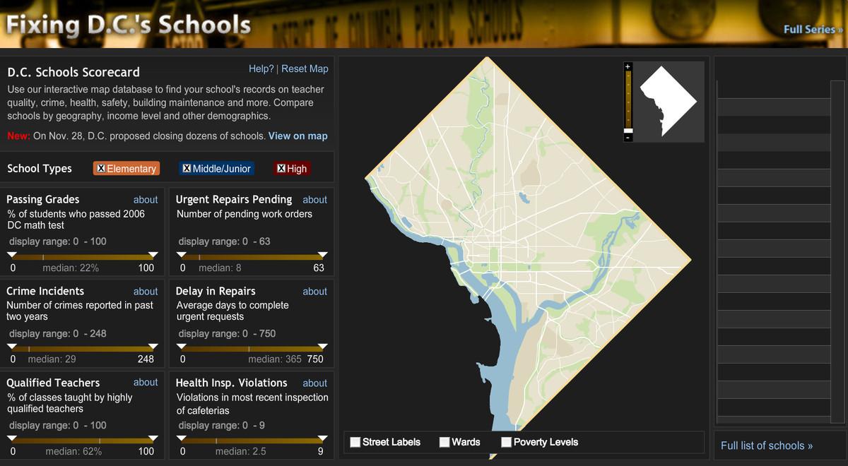 Screenshot of Fixing DC's Schools