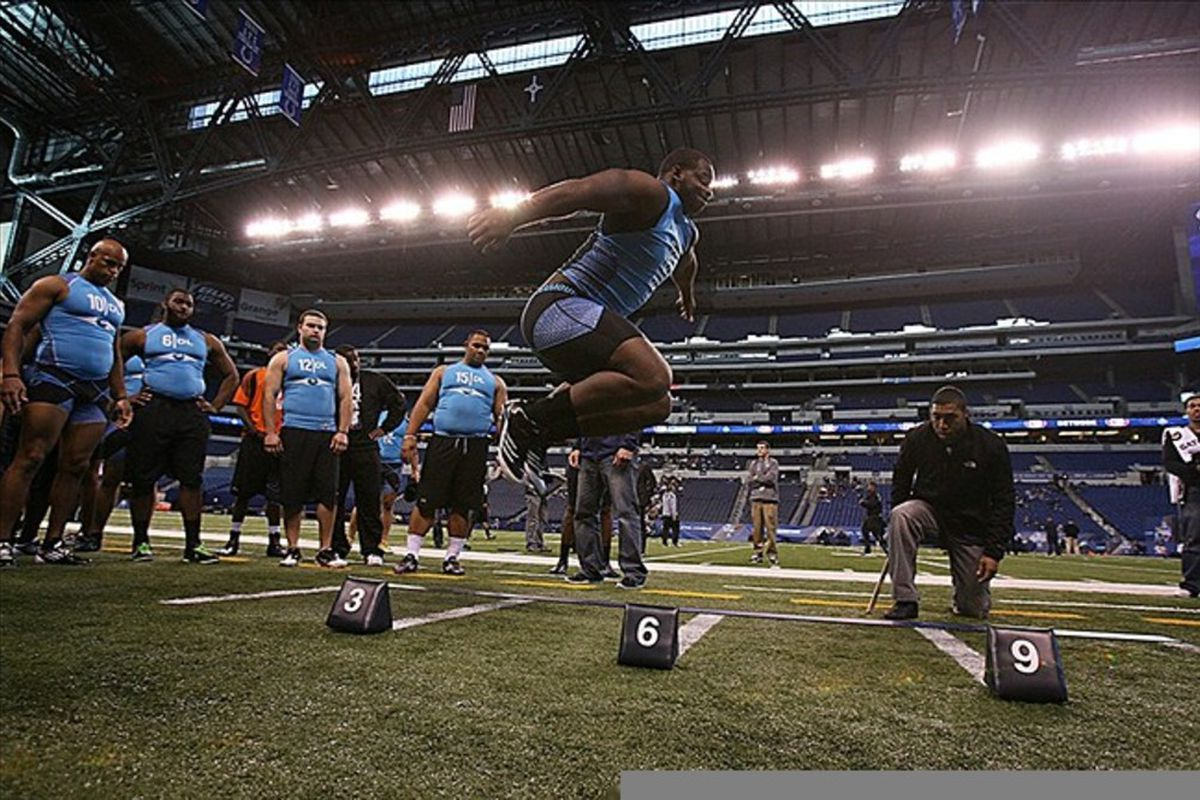 Feb 27, 2012; Indianapolis, IN, USA; Mississippi State defensive lineman Fletcher Cox does the broad jump during the NFL Combine at Lucas Oil Stadium. Mandatory Credit: Brian Spurlock-US PRESSWIRE
