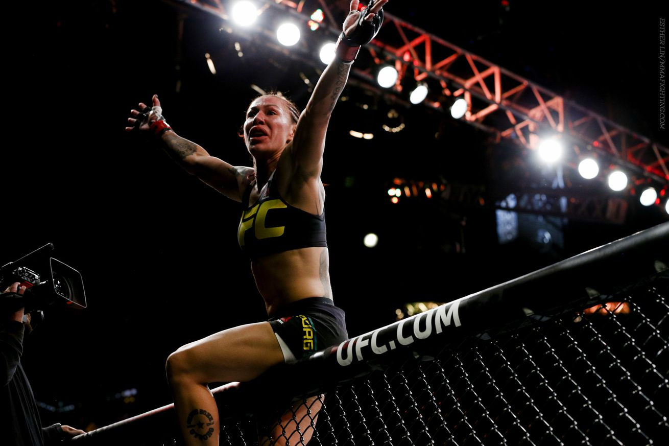 Cris Cyborg celebrates her UFC 198 win over Leslie Smith in Curitiba, Brazil.