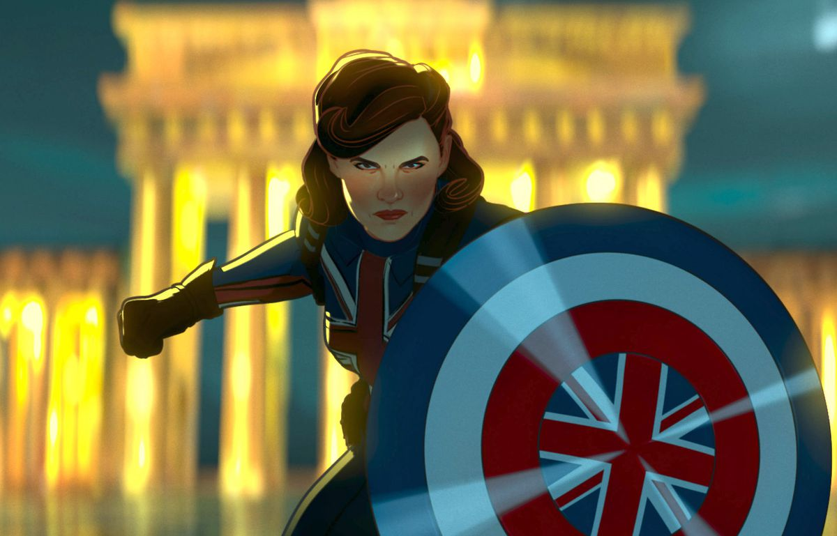 Animated Captain Carter from What If Holds Up Her Shield