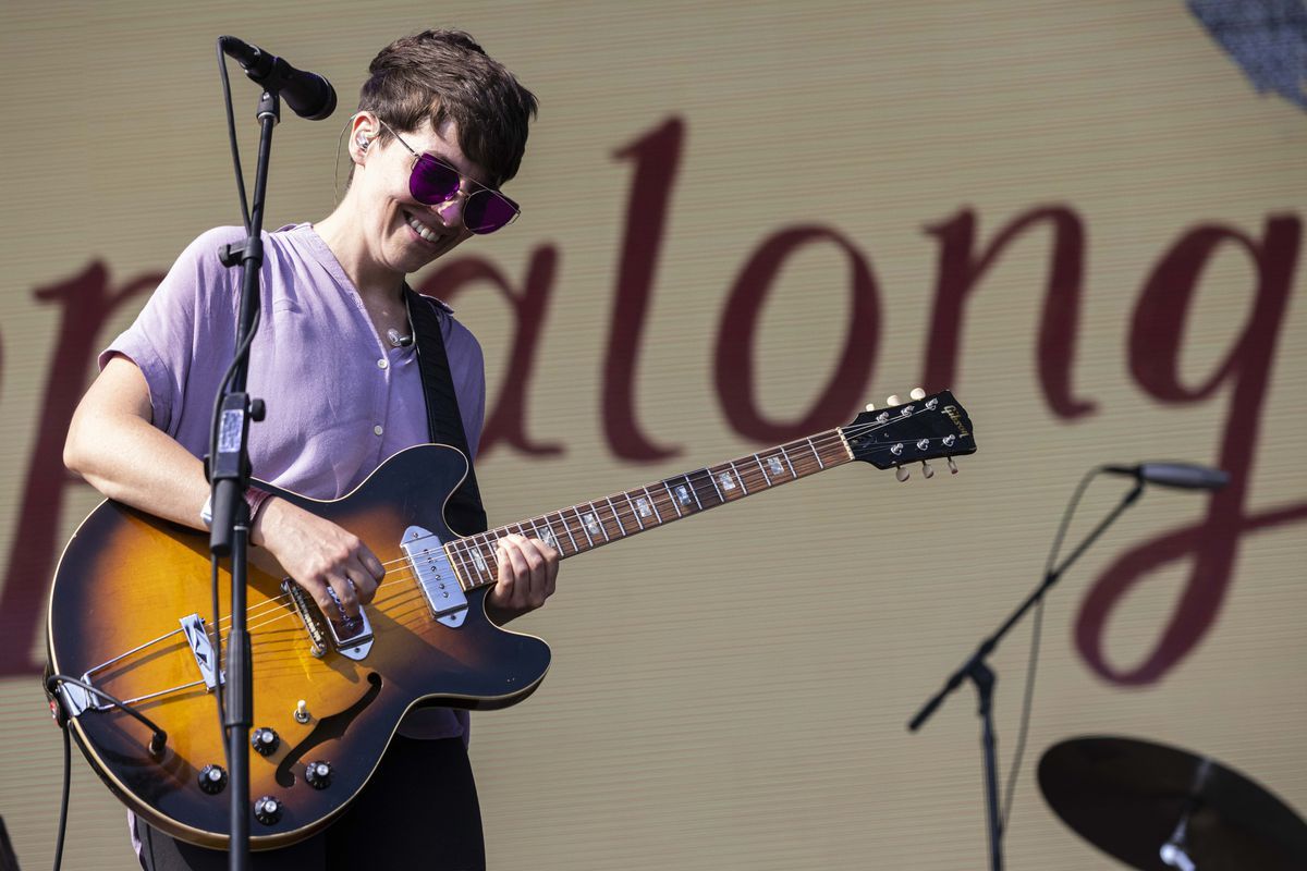 Frances Quinlan of Hop Along performs on day one of the Pitchfork Music Festival.