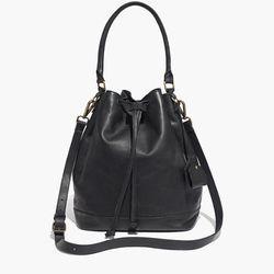 "Madewell 'Lafayette' bucket bag, <a href=""https://www.madewell.com/madewell_category/BAGS/crossbodybags/PRDOVR~B1654/B1654.jsp?color_name=true-black"">$198</a>"