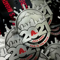 Medals are pictured at the Deseret News Marathon in Salt Lake City on Friday, July 23, 2021.