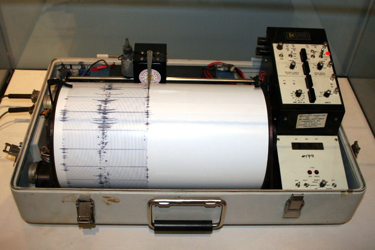 A seismograph registering an earthquake.