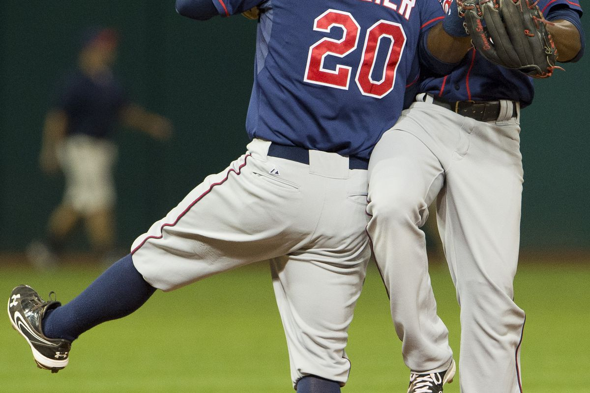 """Denard Span is surprised by Brian Dozier's latest dance move, which the shortstop is calling """"The Lurch Sideways."""""""