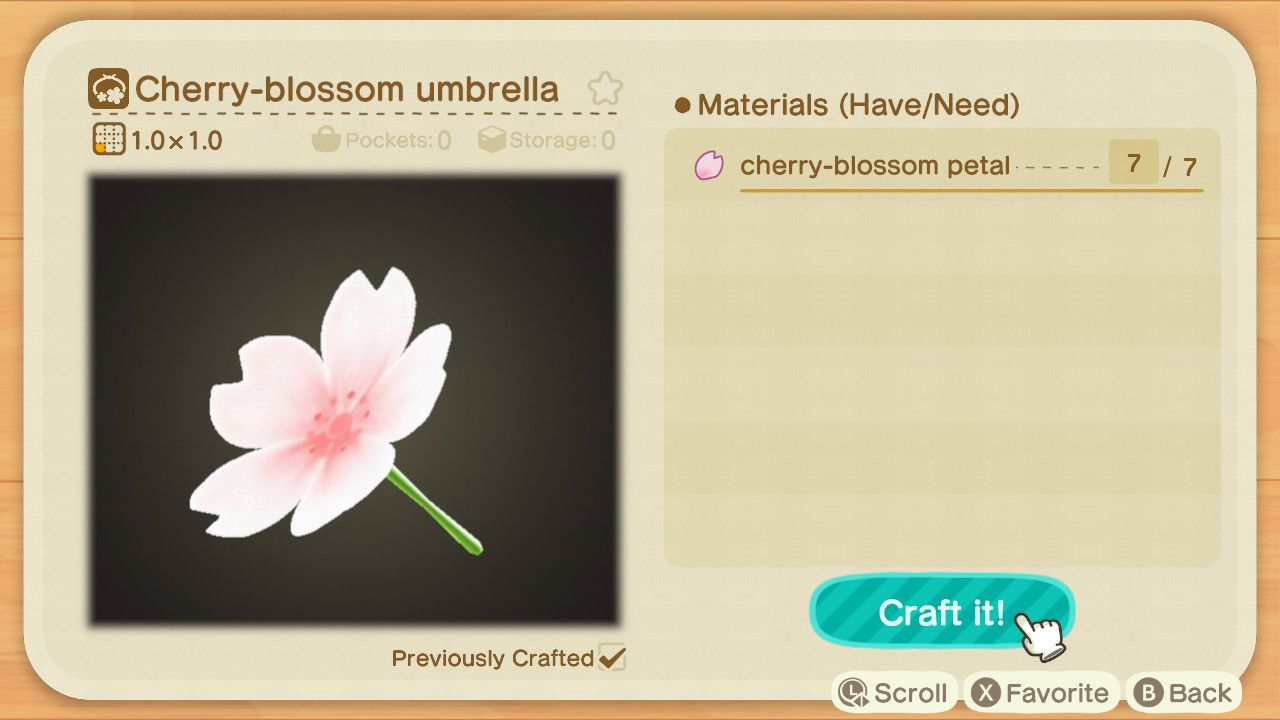 Crafting Materials Animal Crossing New Horizons Cherry Blossom DIY Recipes