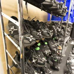 Racks of shoes with motion-capture beads attached. When we visited in February, the space looked all set to welcome a new batch of actors with fresh jumpsuits lined up on the floor.
