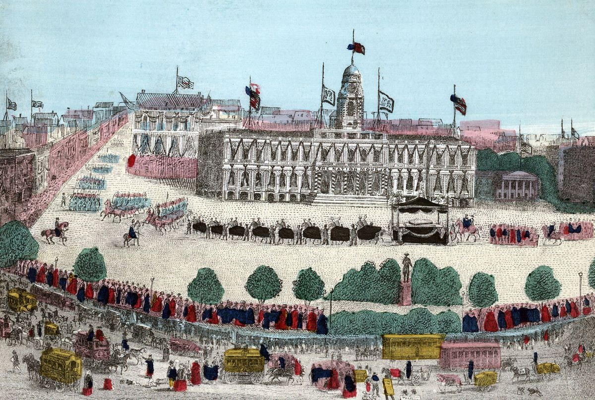 An illustration of Lincoln's funeral procession on April 25, 1865. (Universal History Archive/Getty Images)