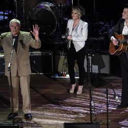 Tom T. Hall, left, performs with Peter Cooper, right, and Lee Ann Womack at the 11th annual Americana Honors & Awards, Wednesday Sept. 12, 2012, in Nashville, Tenn