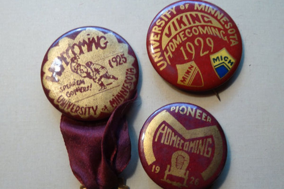 Homecoming pins from the 1920s
