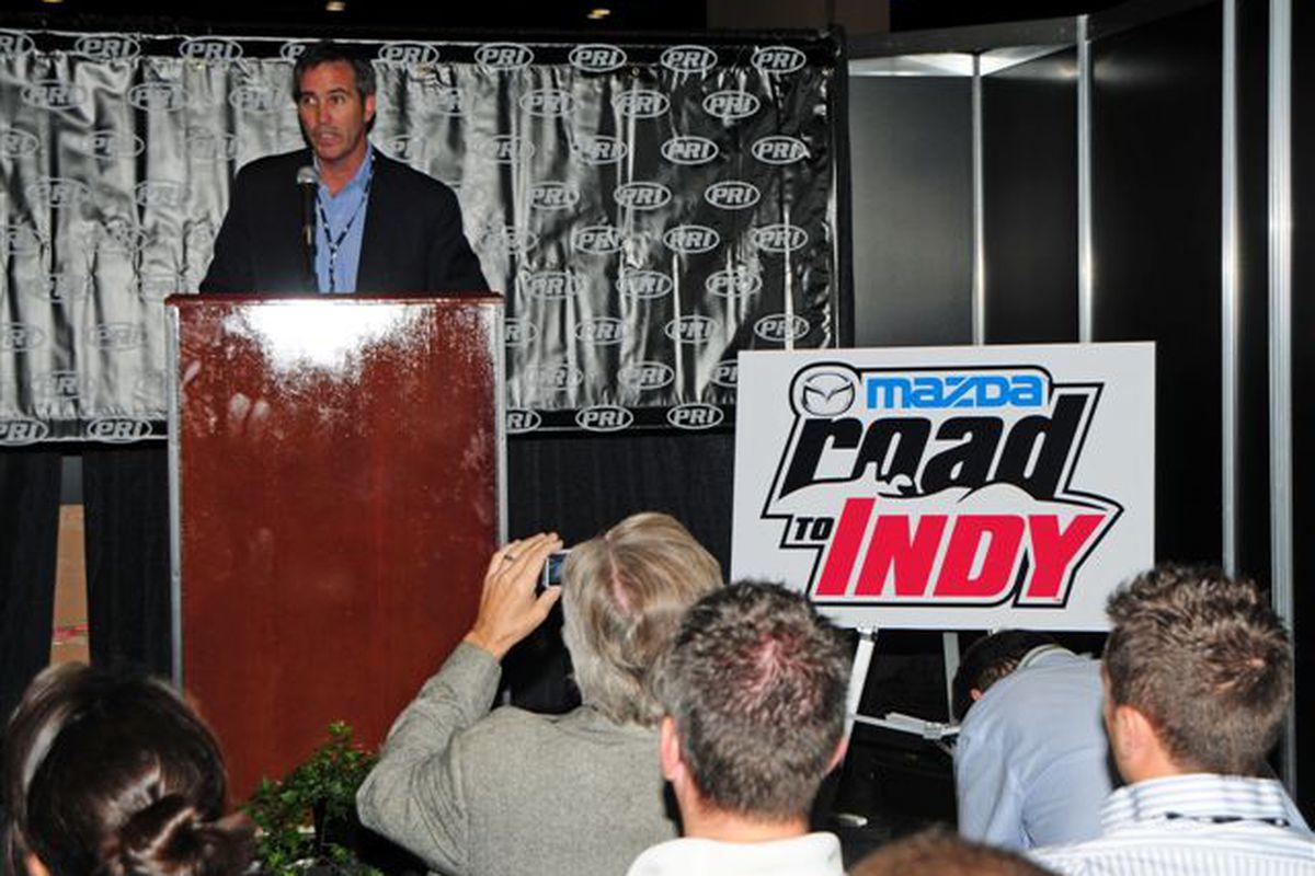 INDYCAR CEO Randy Bernard announces the Mazda Road to Indy scholarship program at the PRI Auto Show, Thursday, December 9, 2010 (Photo: IMS Photo)