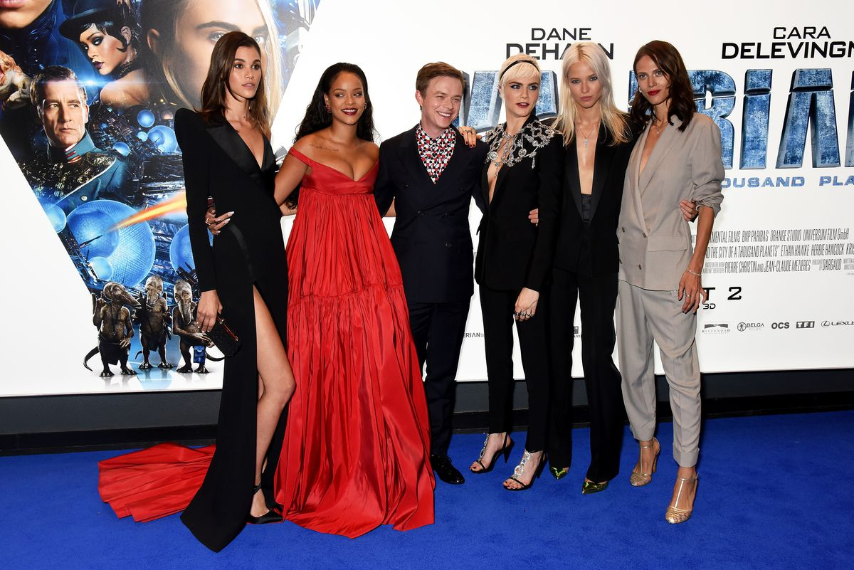 Pauline Hoarau, Rihanna, Dane DeHaan, Cara Delevingne, Sasha Luss and Aymeline Valade attend the European premiere of 'Valerian and The City of a Thousand Planets' at Cineworld London on July 24, 2017 in London, England.