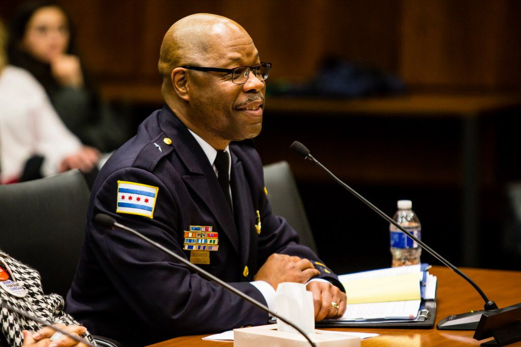 Deputy Chief Cedric Alexander testifies at a legislative hearing in Chicago on gun dealer licensing, on Tuesday, March 27, 2017.   James Foster/For the Sun-Times