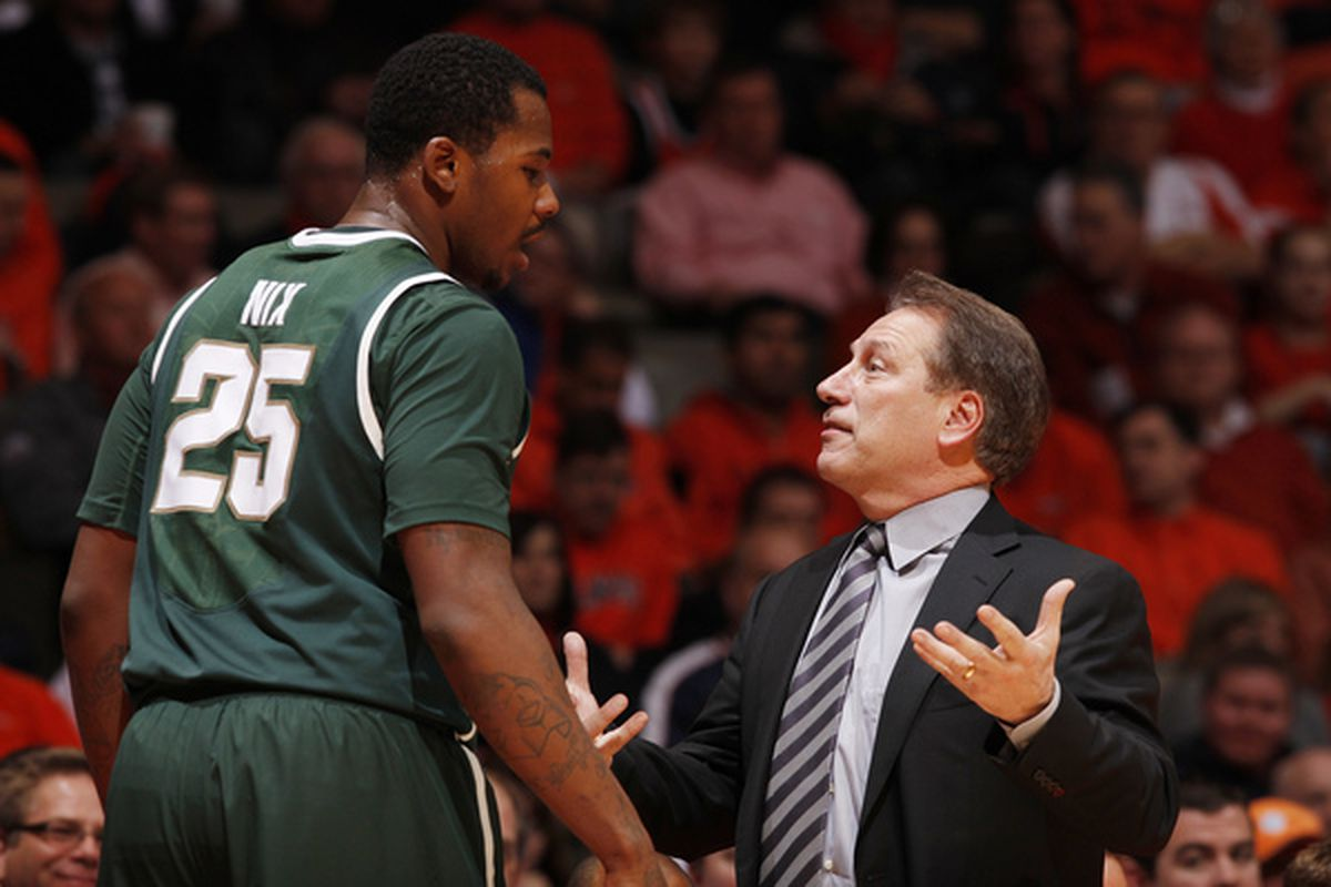 One of Coach Izzo's goals today will be to continue to get quality minutes out of Jr. C Derrick Nix. (Photo by Joe Robbins/Getty Images)