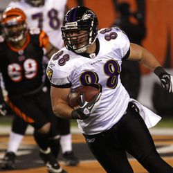 Baltimore Ravens tight end Dennis Pitta (88) had 40 catches this year after seeing limited action in 2010.