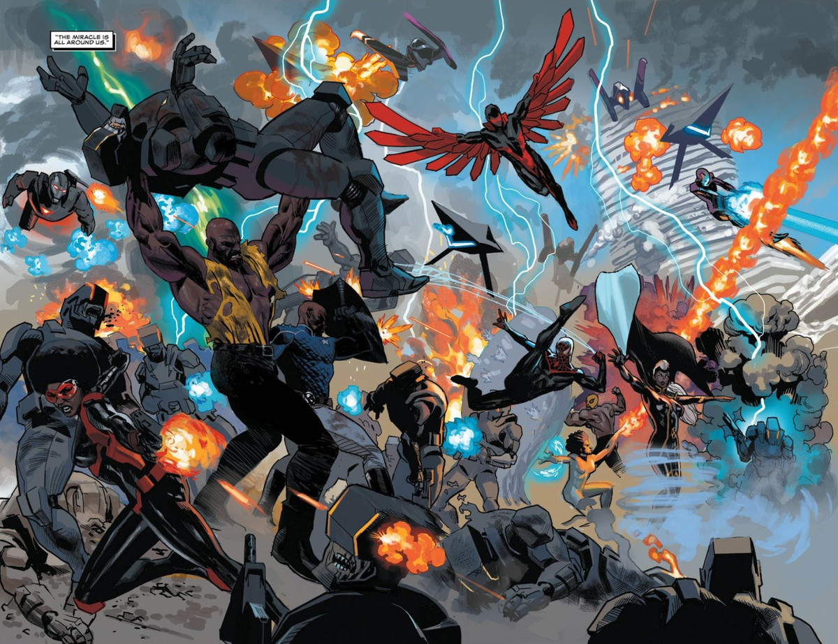Luke Cage, War Machine, the Falcon, Miles Morales/Spider-Man, Misty Knight, Ironheart, and other Black heroes of the Marvel universe battle to protect Wakanda in Black Panther #24, Marvel Comics (2021).