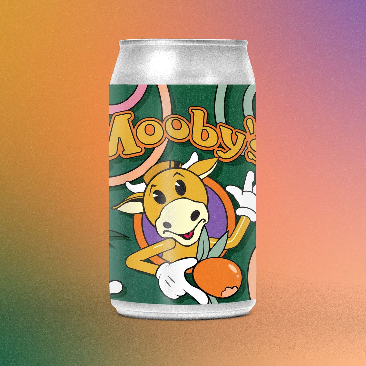 A can of beer with a cartoon cow.