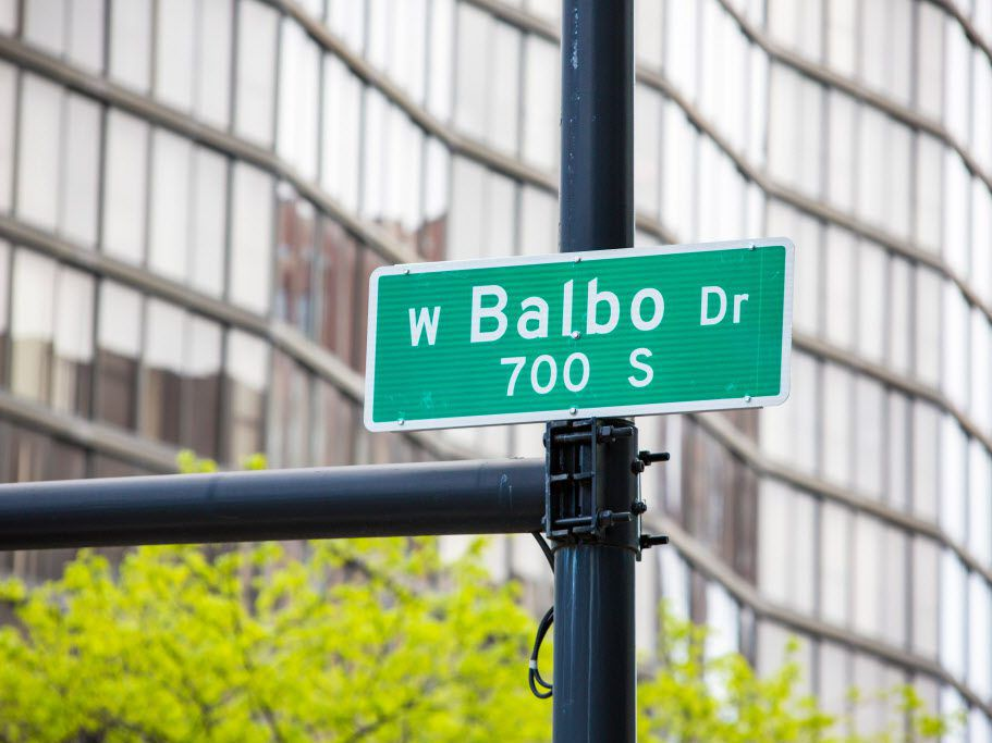 Street sign where Balbo Drive intersects with State Street, Tuesday, May 22,2018   James Foster/For the Sun-Times