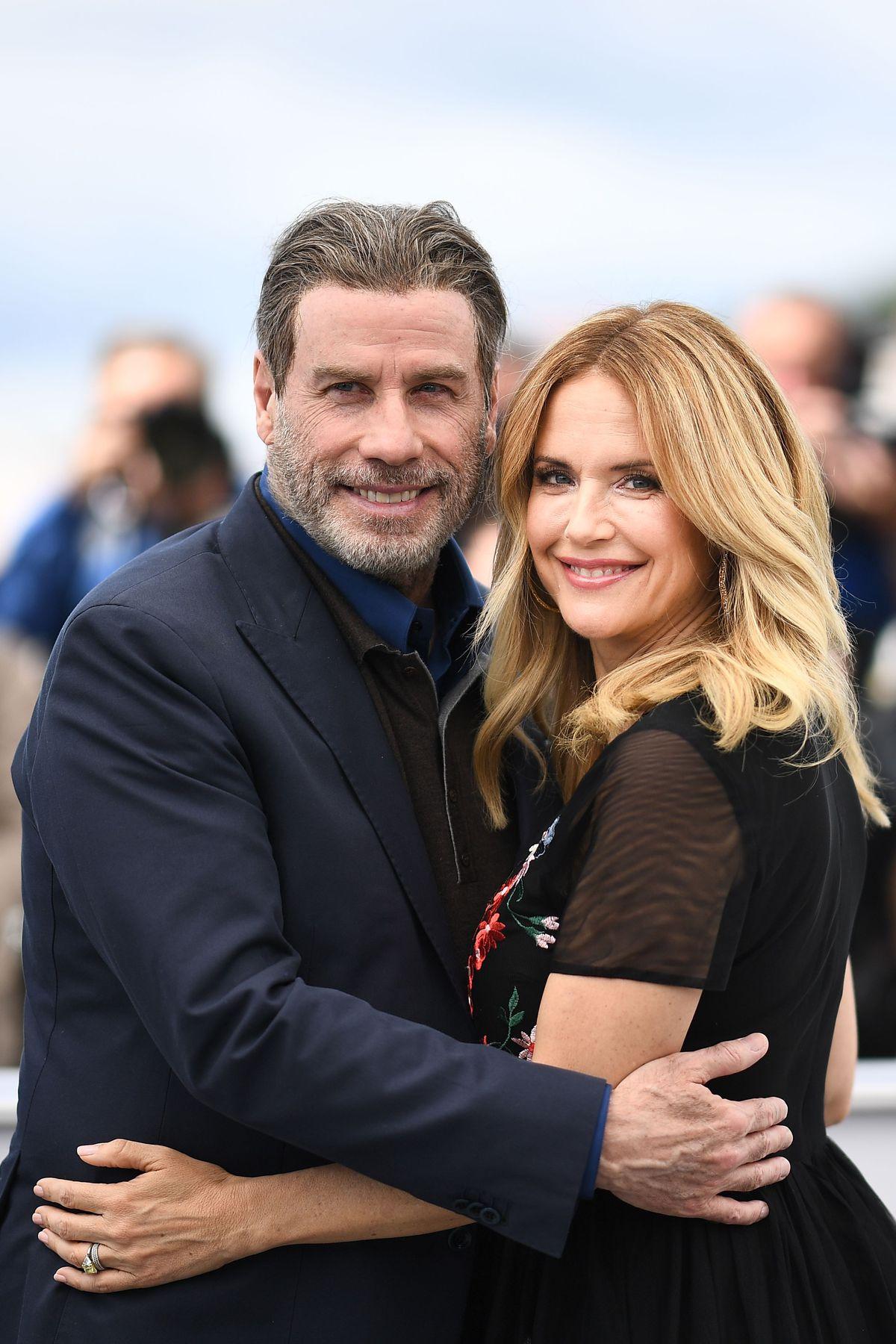 "John Travolta and Kelly Preston promote ""Gotti"" at the Cannes International Film Festival. | Getty Images"