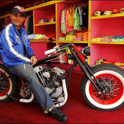 Christian Audigier at Von Dutch's Melrose store. The late designer was the brand's official stylist and was responsible for its strong celebrity following.