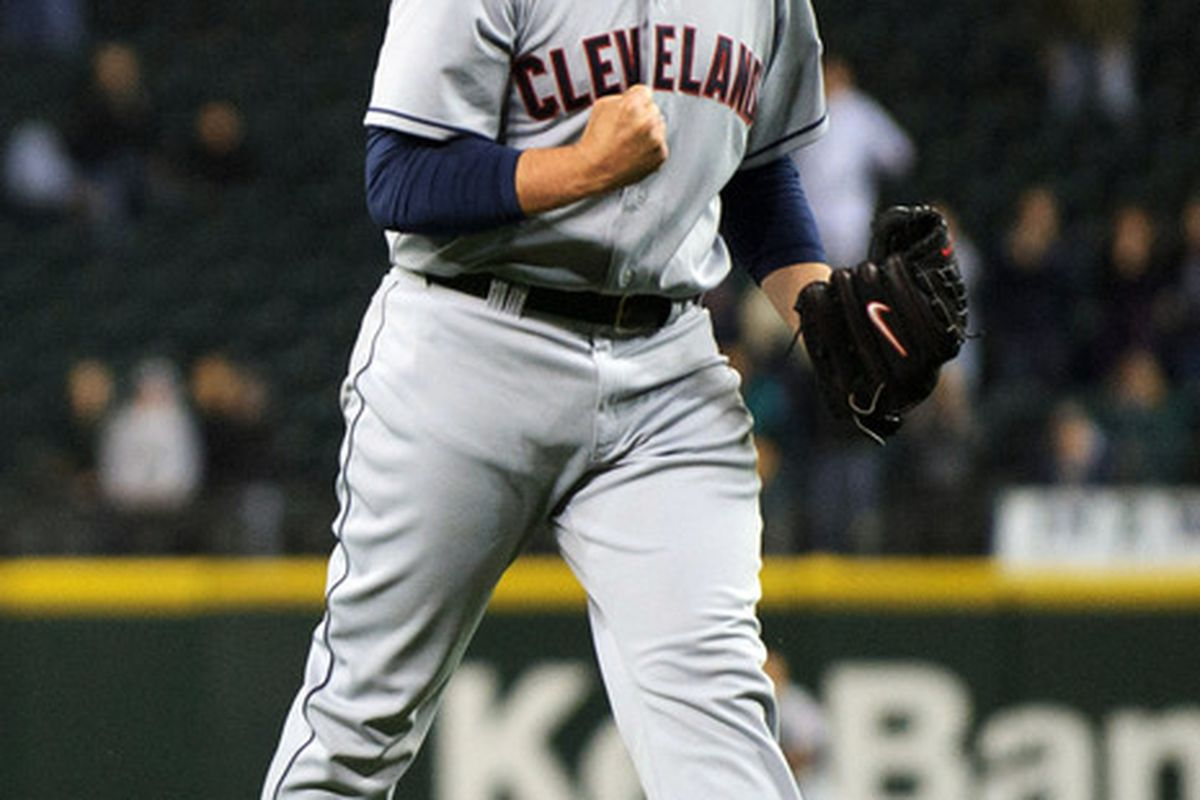 Apr 17, 2012; Seattle, WA, USA; Cleveland Indians relief pitcher Chris Perez (54) reacts after the Cleveland Indians defeated the Seattle Mariners at Safeco Field. Cleveland defeated Seattle 9-8. Mandatory Credit: Steven Bisig-US PRESSWIRE