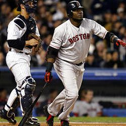 Boston's David Ortiz watches his first-inning two-run home run sail from Yankee Stadium during Game 7 of the ALCS on Wednesday night.