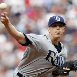 Tampa Bay Rays' Jeremy Hellickson pitches in the first inning of a baseball game against the Boston Red Sox in Boston, Saturday, April 14, 2012.
