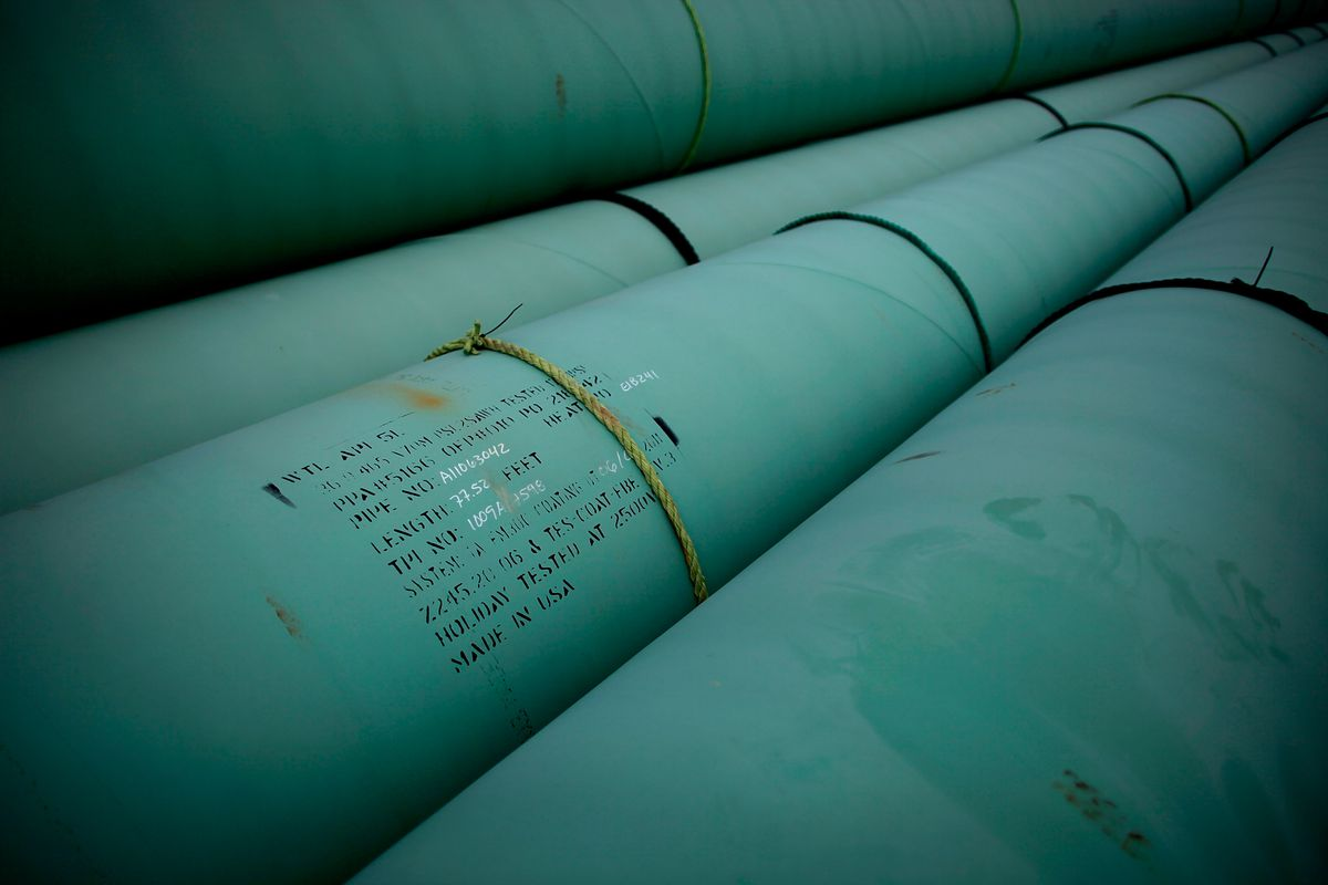Pipe at a southern site of the Keystone pipeline in Cushing, OK.