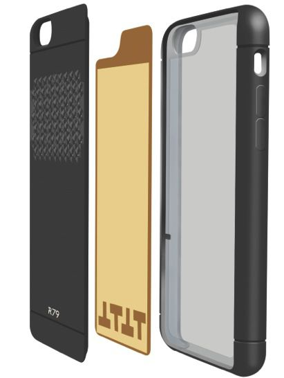 The Reach79's gold-plated extra antenna is sandwiched within the case.