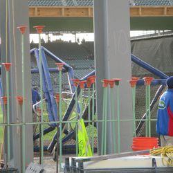 6:25 p.m. More equipment waiting to be put away -