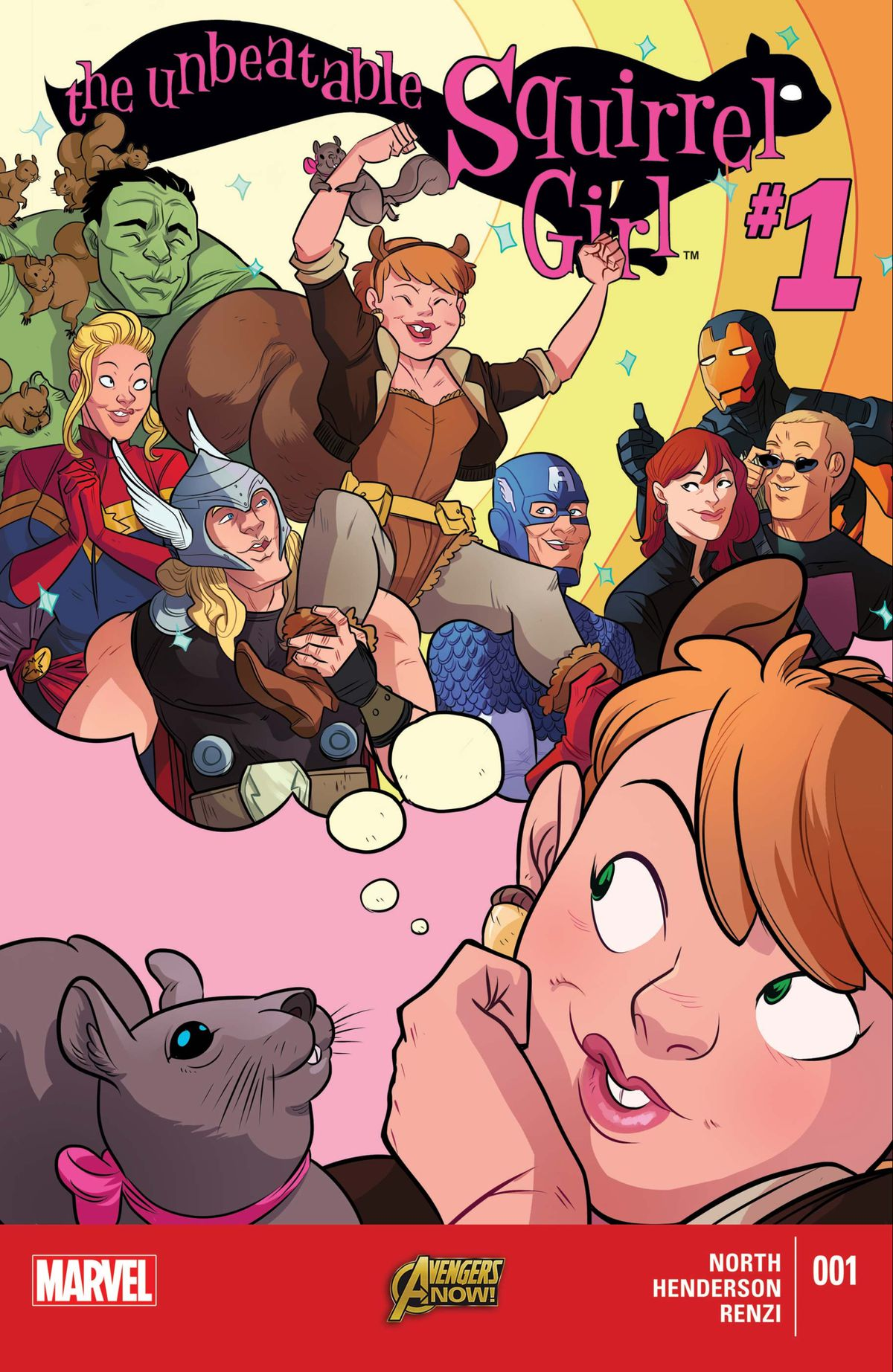 Squirrel Girl dreams of being held aloft on the shoulders of the Avengers, on the cover of The Unbeatable Squirrel Girl #1, Marvel Comics (2015).