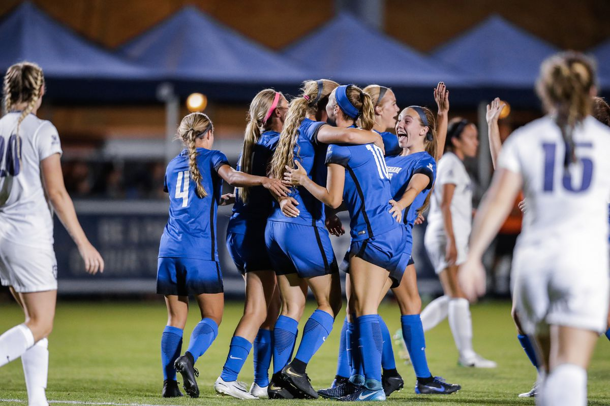 BYU players celebrate during the game. Five different players scored in the second half Thursday to help the BYU women's soccer team earn a 5-1 win over Pacific.