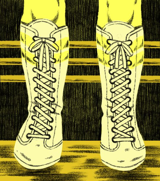 An illustration of wrestling boots like used in the TV show GLOW.