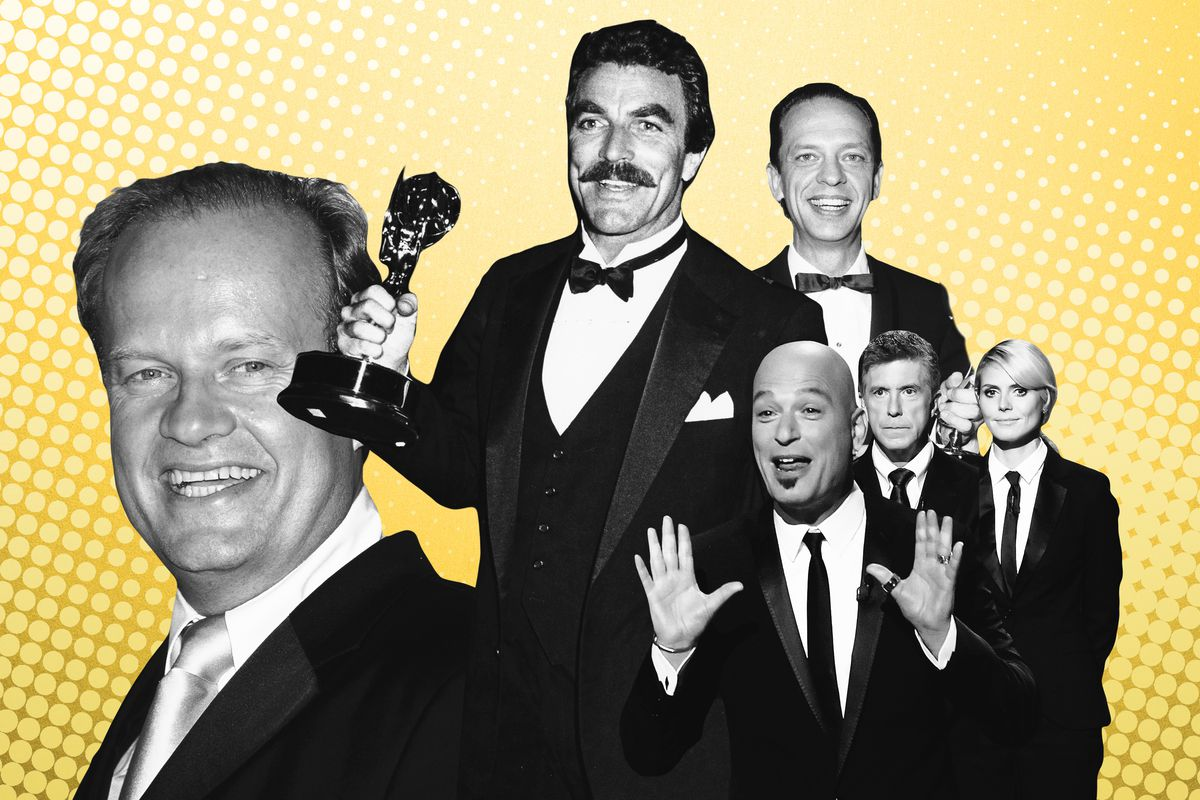Collage of Emmys hosts from years past