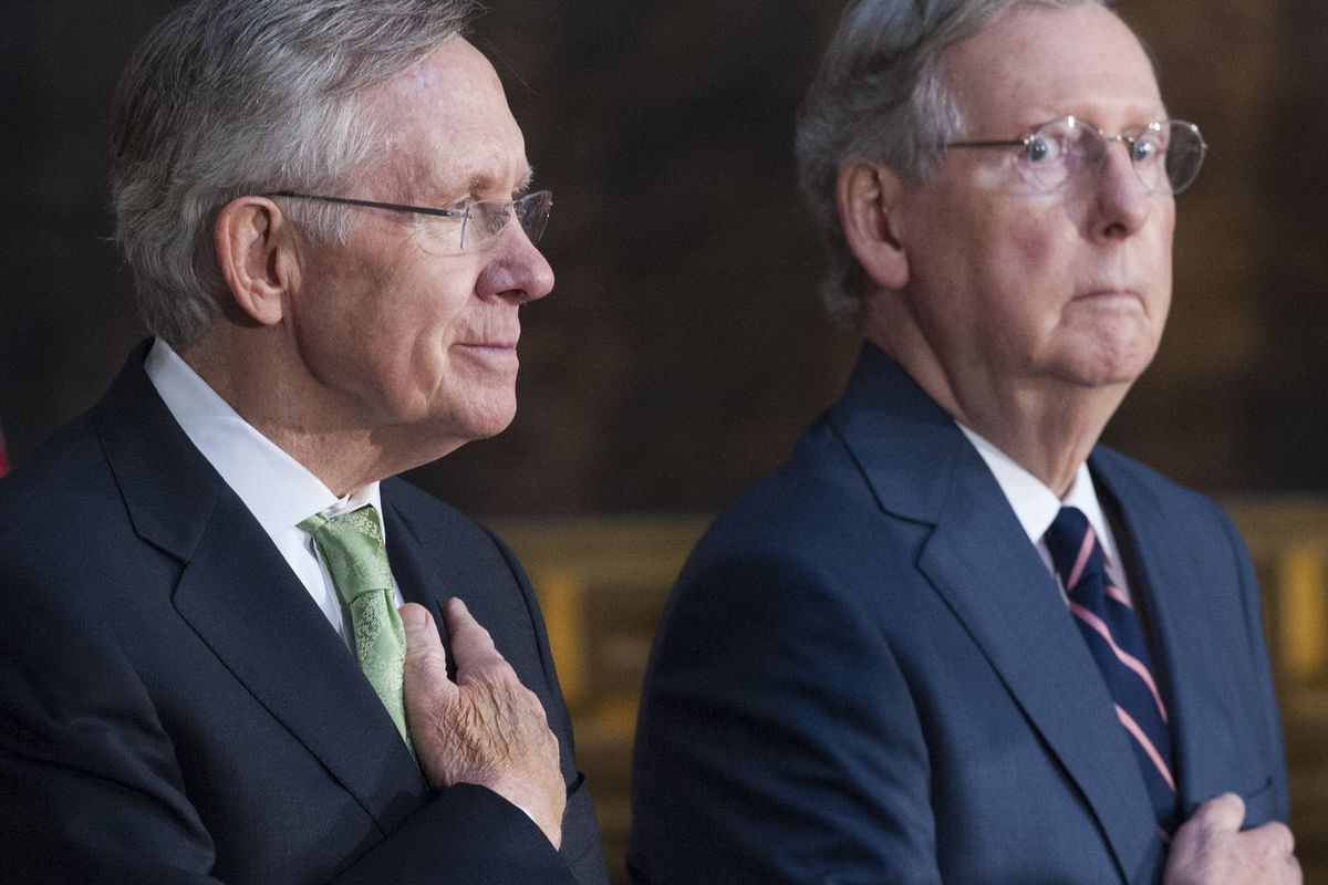 Mitch McConnell has his eye on Harry Reid's job.