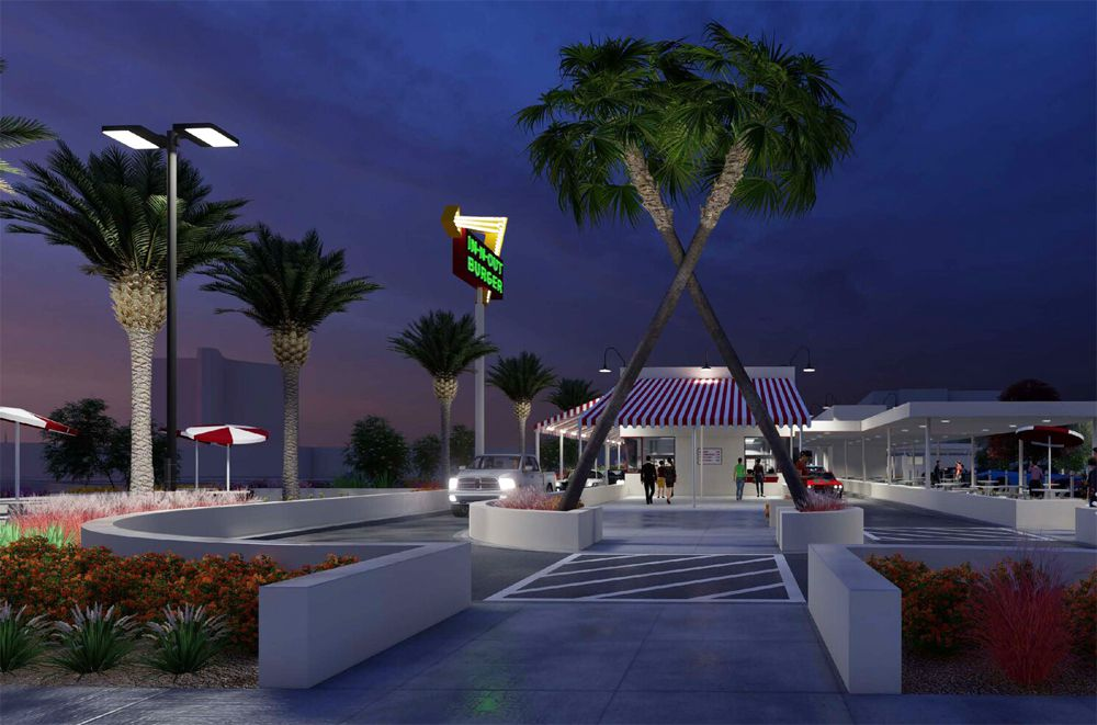 A night-time rendering from real estate company Diversified Partners of the retro-inspired In-N-Out Burger headed to the westside.