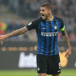 Mauro Emanuel Icardi of FC Internazionale Milano shouts during the Serie A match between FC Internazionale and AC Milan at Stadio Giuseppe Meazza on October 15, 2017 in Milan, Italy.