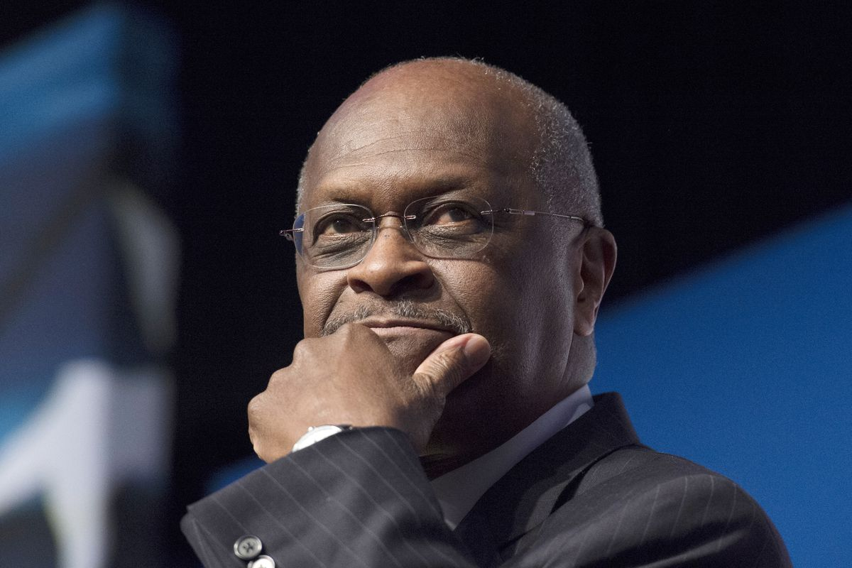 """FILE - In this June 20, 2014 file photo, Herman Cain, CEO, The New Voice, speaks during Faith and Freedom Coalition's Road to Majority event in Washington. President Donald Trump said Wednesday, April 10, 2019, that Cain is a """"wonderful man,"""" but it will"""
