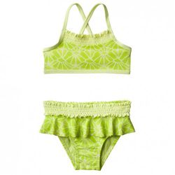 Toddler Two-Piece Ruffle Swimsuit in Green $12.99 Also available in infant sizing