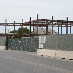 5:05 p.m. Another view of the triangle lot structure, seen from Clark Street -