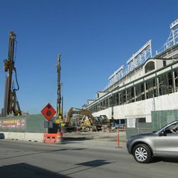 Clark Street side of the triangle lot and the ballpark -