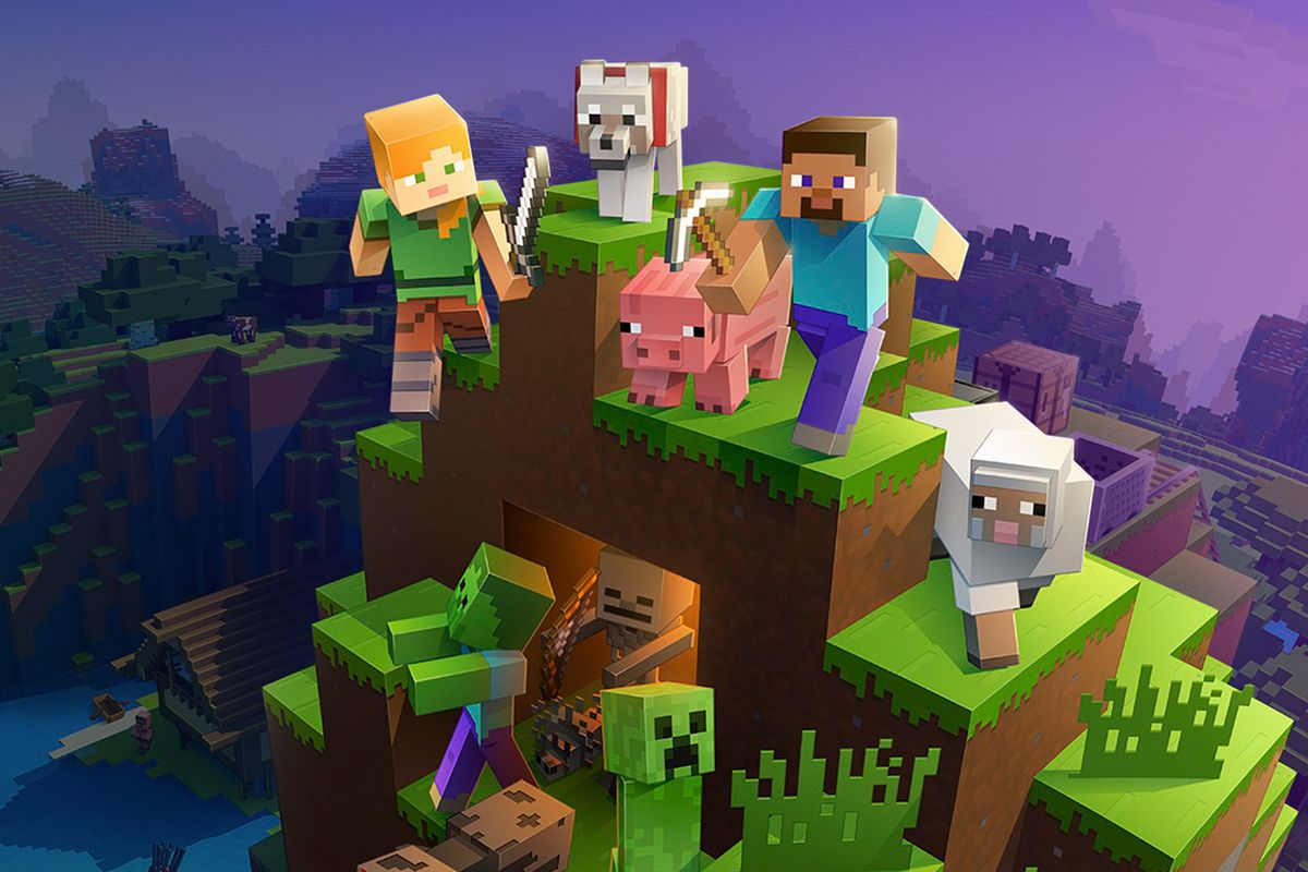 Minecraft characters pose on a hill