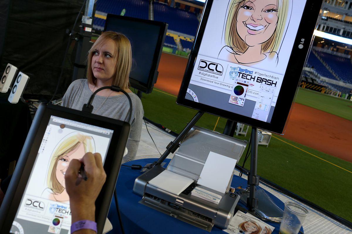 An artist paints a digital portrait.