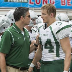 """Jim Caviezel (left) and Alexander Ludwig in """"When the Game Stands Tall."""""""