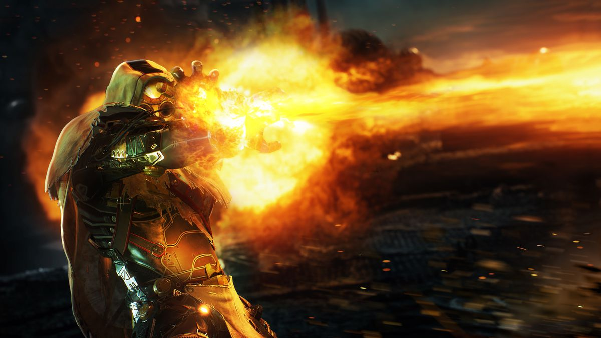 A pyromancer class Outrider shoots a column of flame in a screenshot from Outriders