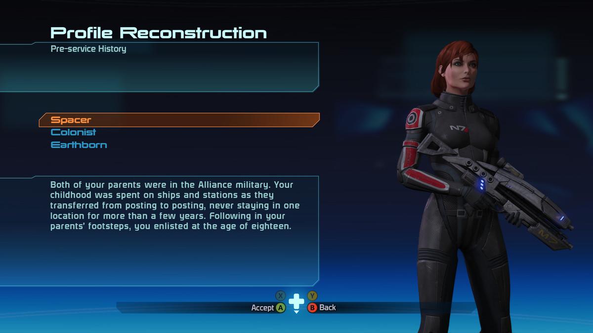 La pantalla del historial previo al servicio en Mass Effect